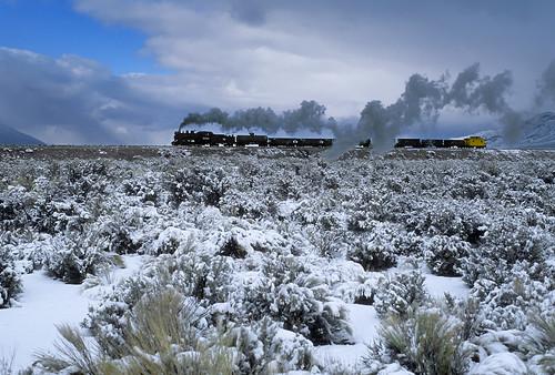 nevadanorthern nnry steam steamlocomotive 280 consolidation 93 freighttrain snow sagebrush steptoecreek eastely nevada railroad nv train locomotive