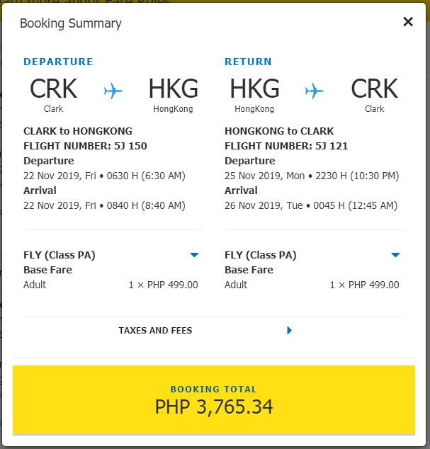 Clark to Hong Kong Cebu Pacific promo roundtrip