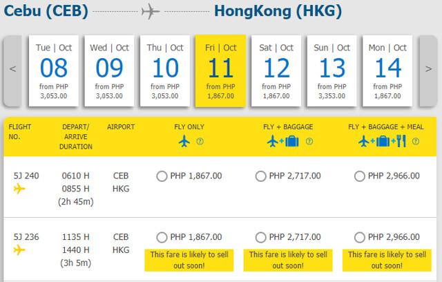 Cebu to Hong Kong Cebu Pacific promo