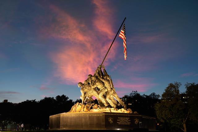 Marine Corps War Memorial at sunset