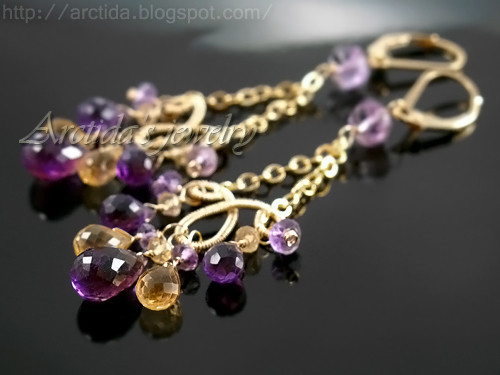 Domani - African and Brazilian Amethyst, Citrine coiled earrings in 14K Gold Filled