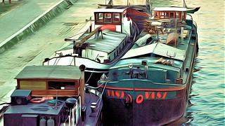 Paris Barges on the Seine Scene II