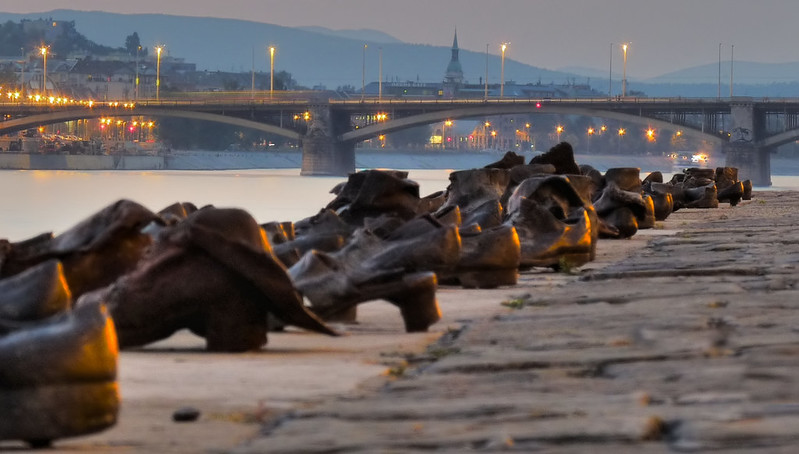Shoes on the promenade at dusk