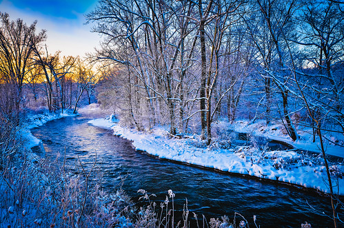 sunrise morning water cold stream river trees forest sky blue snow white winter east nassau new york ny upstate nikon d610 rwgrennan rgrennan ryan grennan nature landscape outdoors beautiful 2018