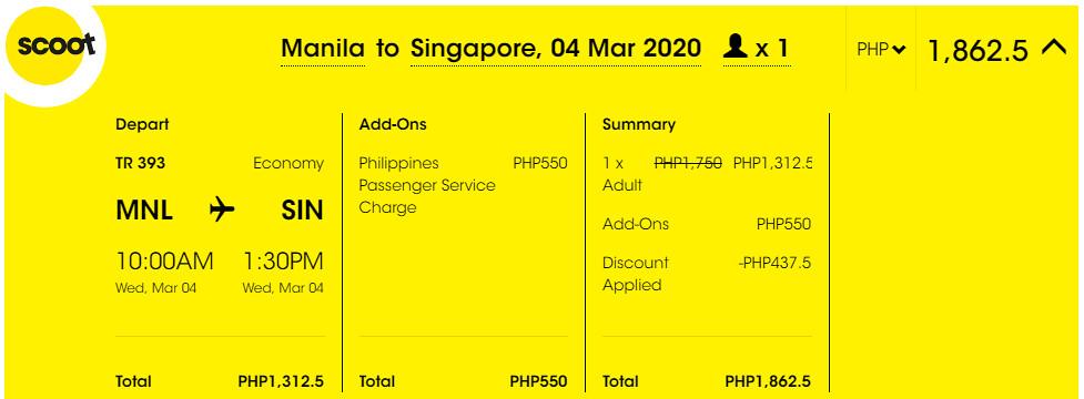 Manila to Singapore Scoot Promo