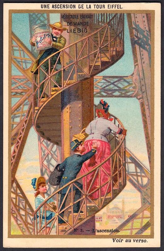 Liebig Tradecard S255 - Climbing the Eiffel Tower