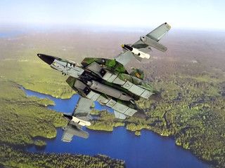 "Macross +++ 1:100 Stonewell/Bellcom JAS.1A/VF-1A ""Valkyrie""; aircraft ""24 Red"" of the SVF-15; Sweden, 2005 (Whif/modified Arii kit) 