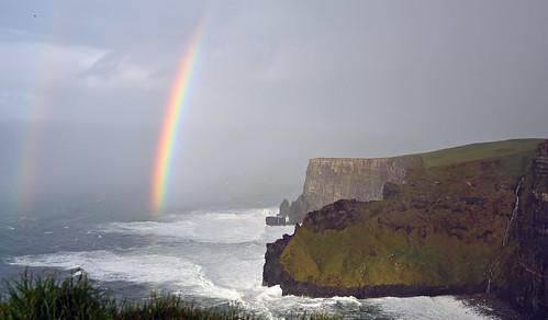 ireland cliffsofmoher rainbow doublerainbow nature 1025fav cliffs