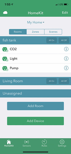 screenshot of ihome app for aquarium automation
