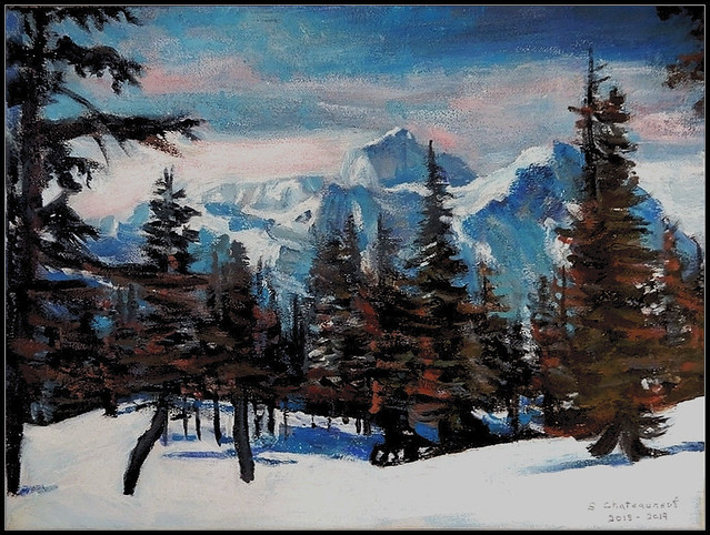 Winter Scene With Pine Trees & Mountains - Acrylic Painting by STEVEN CHATEAUNEUF - Painted at The End of 2018 And Finished In 2019