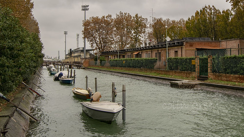 Tha Canal and Boats outside the Stadio Pierluigi Penzo, Venice.