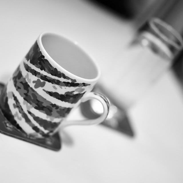 Mug at a jaunty angle