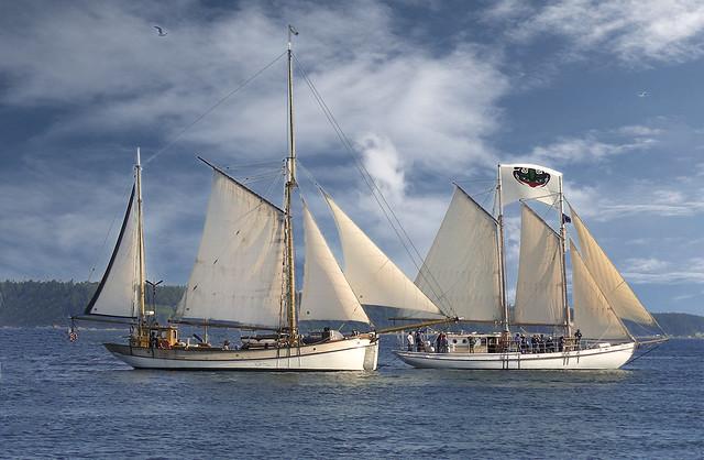 Lady Hawk Ketch  and Mycia with a Skysail