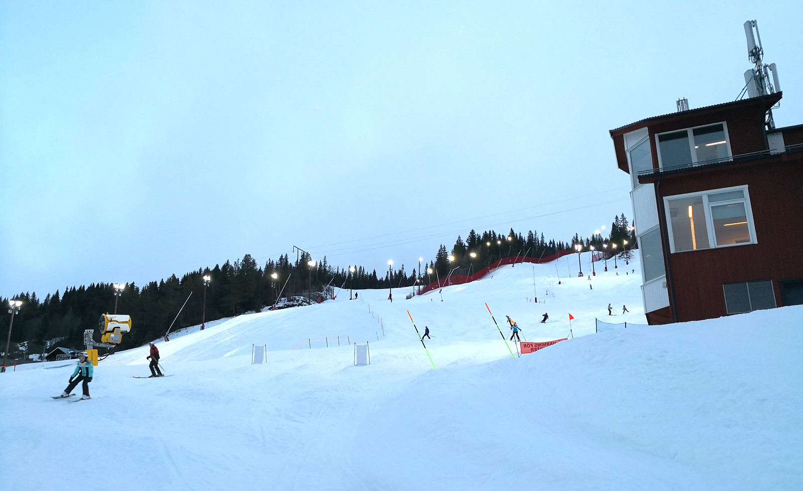 Lights on the slopes of Race Arena