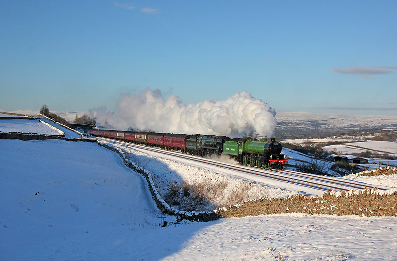A more traditional angle of the most unusual pairing of B1 No.61306 'Mayflower' and Merchant Navy No.35018 'British India Line', having accelerated away from Kirkby Stephen where the train had come to a stand for several minutes.  Winter conditions like this are so few and far between to coincide with a steam special over the S&C. A moment to be savoured.