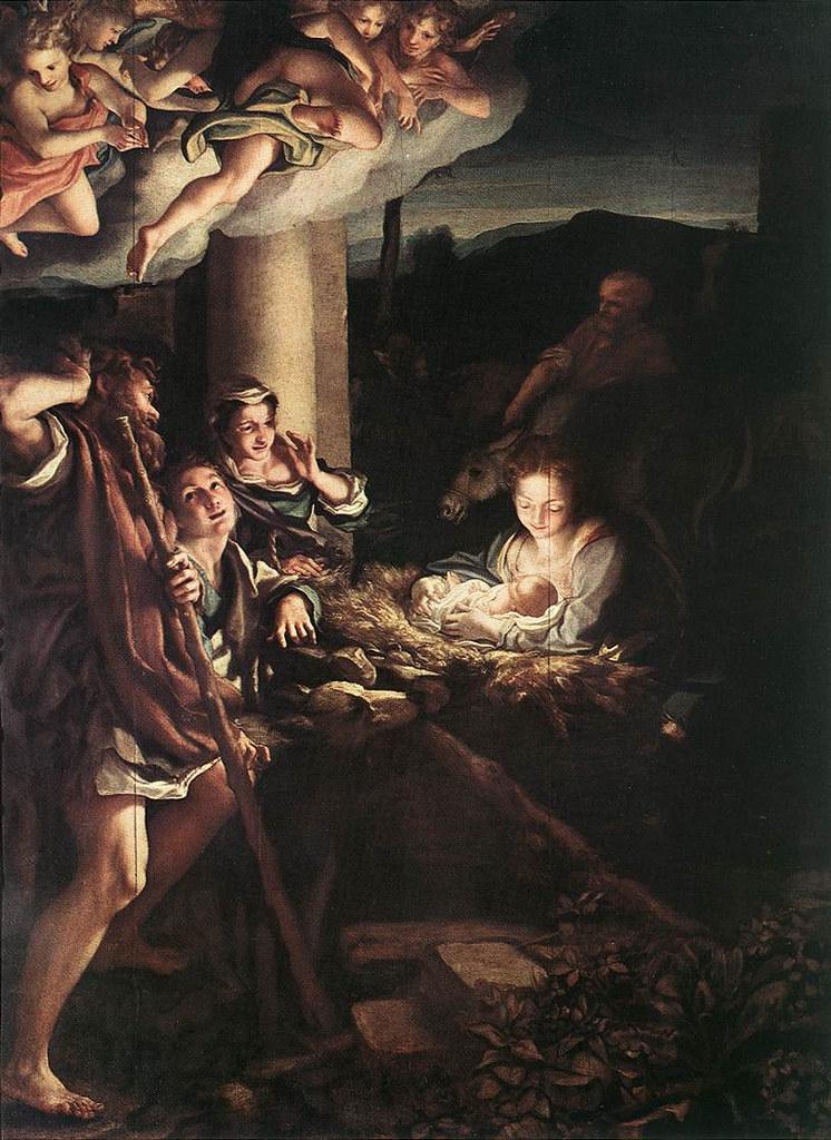«Natal», Correggio, 1528-30 — Óleo sobre tela, 266,5 x 188 cm (Galeria de Pintura, Dresda)