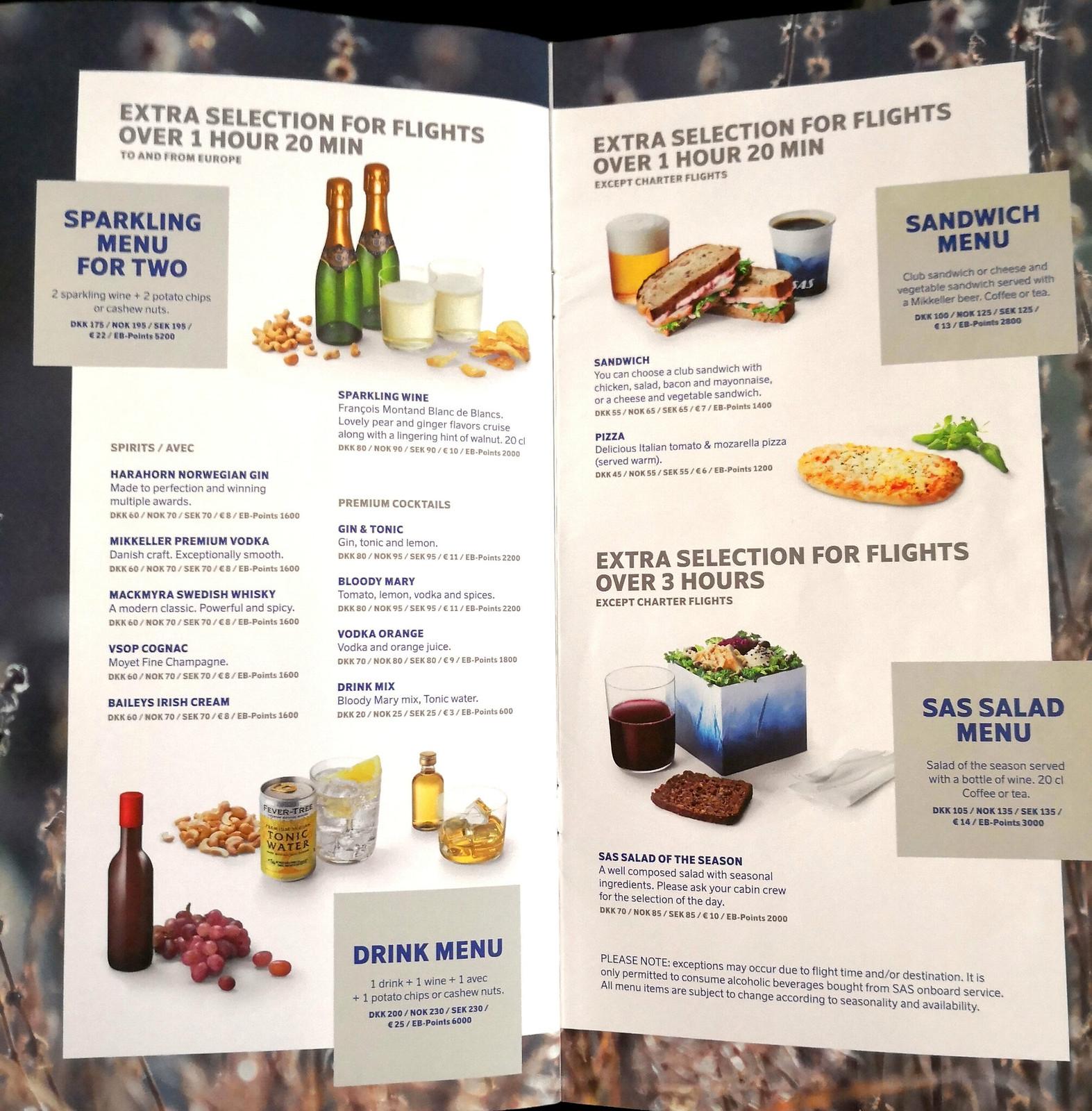 Buy-onboard menu