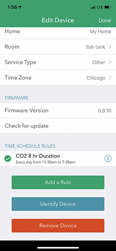 screenshot of ihome app for CO2 aquarium automation
