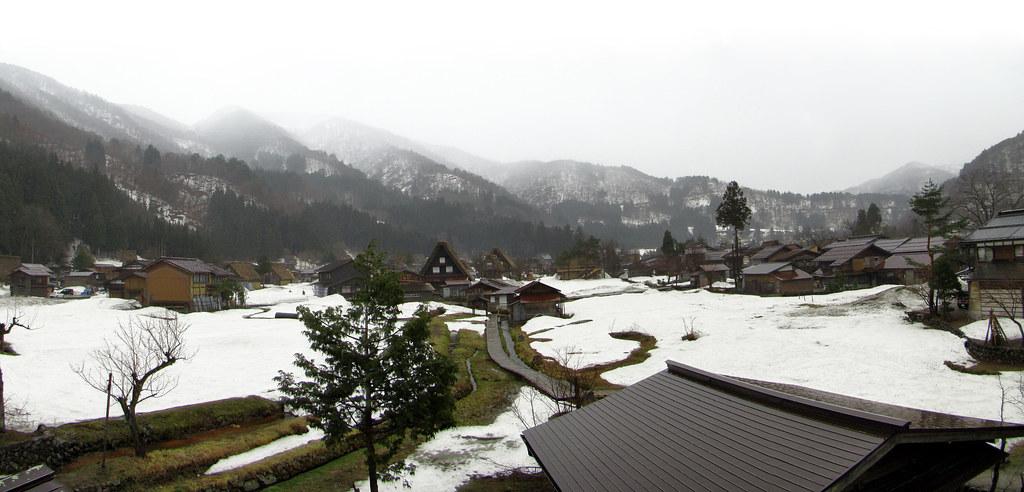 vista con nieve aldea Shirakawa-go Japon