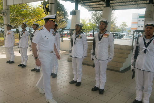 Rear Adm. Ted LeClair reviews Royal Malaysian Sailors during an office call at Sepanggar Naval Base | by #PACOM
