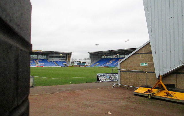 New Meadow Stadium, Shrewsbury, Main and North Stand from South-west