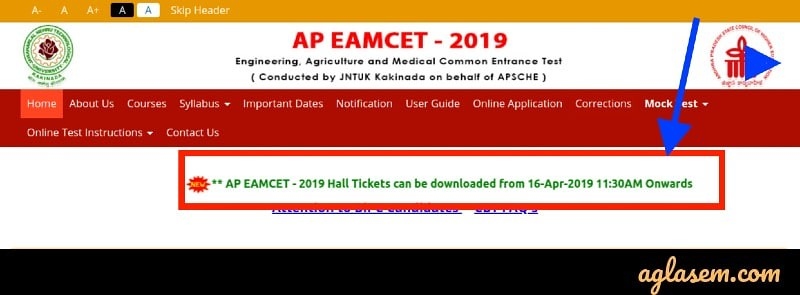 AP EAMCET 2019 Admit Card download date