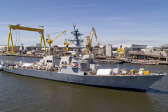 USS Fitzgerald (DDG 62) moves to a pier at Huntington Ingalls Industries (HII) - Ingalls Shipbuilding shipyard, April 16. (Photo courtesy of Huntington Ingalls Industries)