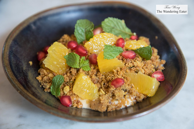 Halva pudding, pistachio streusel, fresh oranges