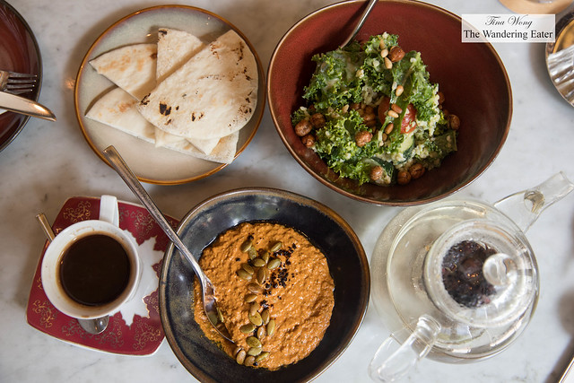 Our mezze - pumpkin seed acuka, pita, avocado and kale tabbouleh