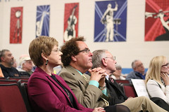 Reps. Zawistowski, Delnicki and Simanski view a presentation on transportation funding