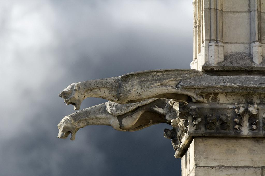 Gargouilles Notre Dame ciel noir