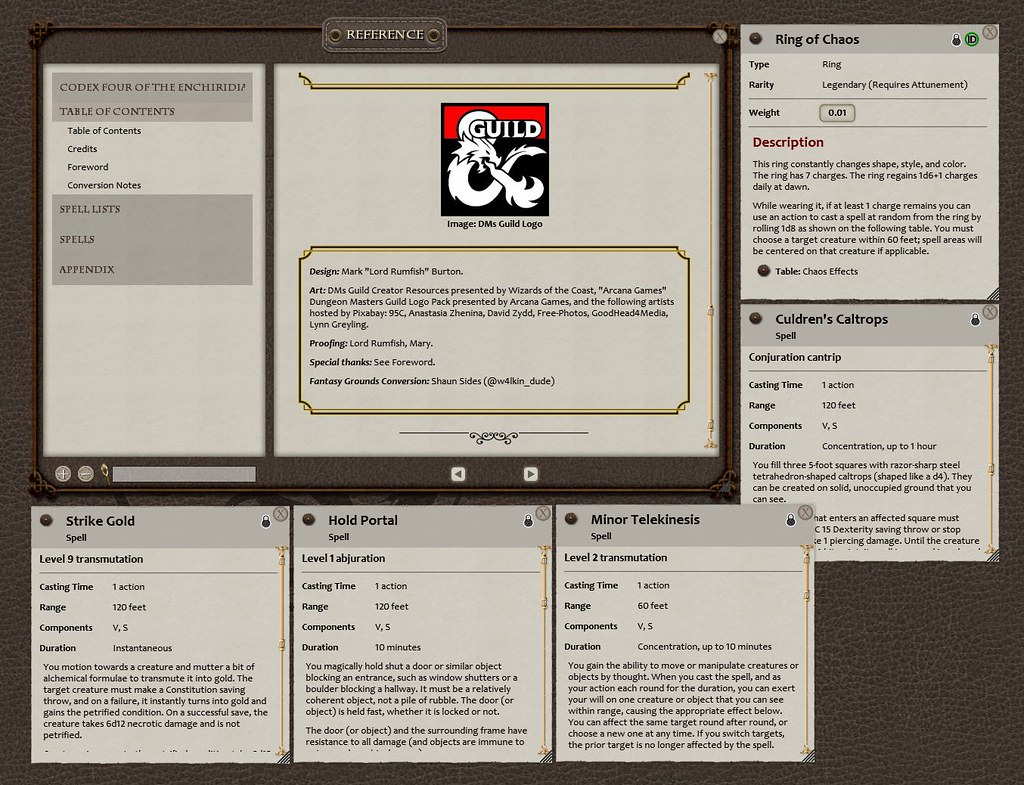 Matter Magic for Fantasy Grounds example from within software
