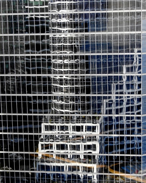 INTERESTING SQUIGGLES AND REFLECTIONS ON BUILDINGS IN DOWNTOWN VANCOUVER,  BC.