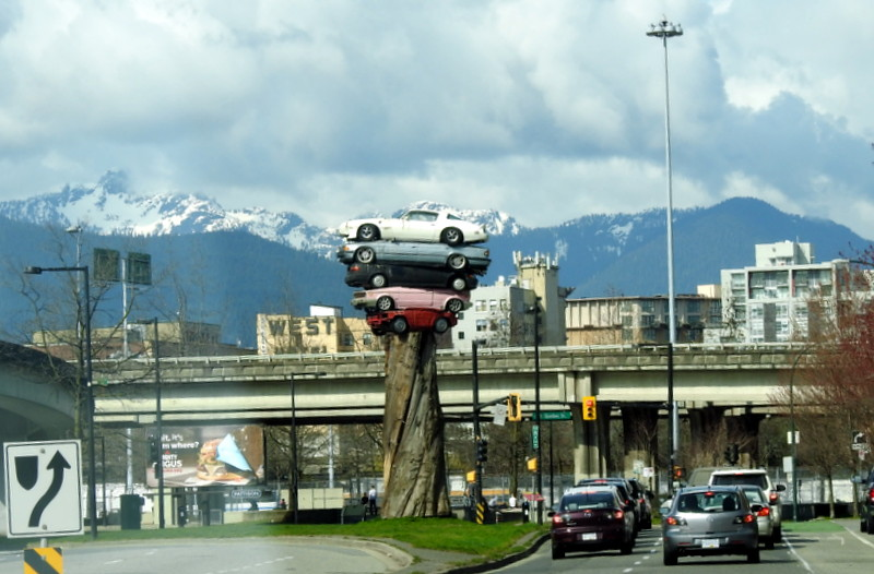AN INTERESTING PIECE OF SCULPTURE - VANCOUVER,  BC.