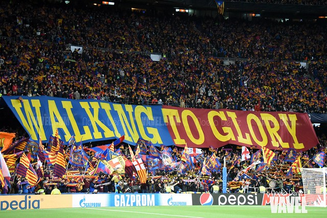Mosaico desplegado en el partido de vuelta de los cuartos de final de la UEFA Champions League | Foto de Noelia Déniz, VAVEL