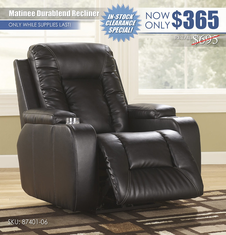 Matinee Durablend Recliner_87401-06-OPEN-SD_ClearanceSpecial
