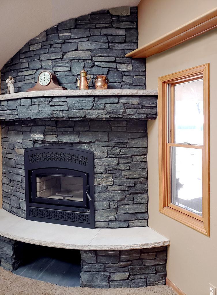 Black Frost Ashlar Veneer Stone Fireplace Full Thin Stone
