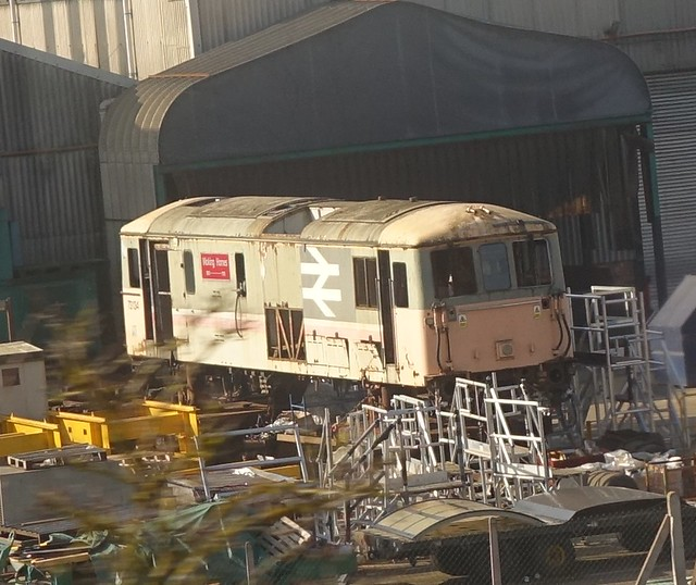 class 73134 at the back of brush locomotive works loughborough.