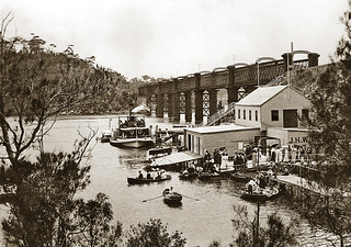 Circa 1913 - A busy day at J.H. Will's boat shed, Como, New South Wales, Australia (duotone version)