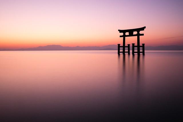 Shirahige Shrine at Biva lake