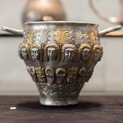 Thracian silver skyphos with gilt details