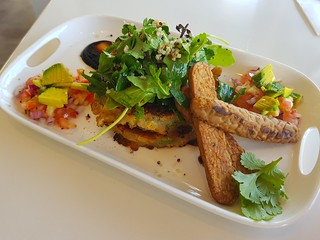 Vegan Fritters with Tempeh at Ginger & Rose