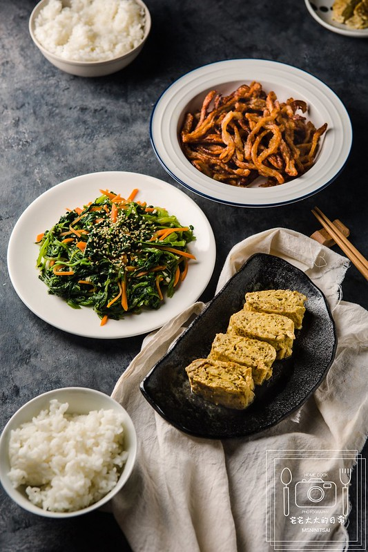 宅宅太太的日常,料理食譜,涼拌菠菜,甜不辣脆絲,紅藜玉子燒 @陳小可的吃喝玩樂