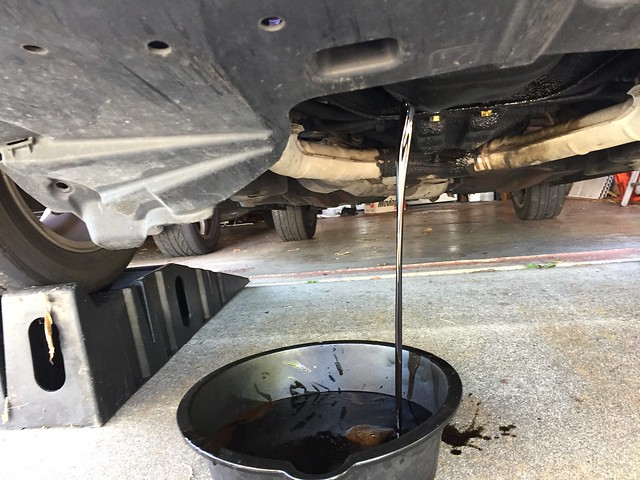 Draining used motor oil