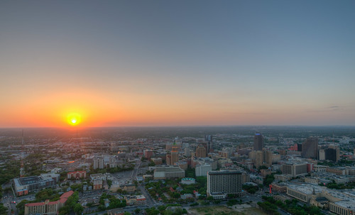 sun sunset landscape aerial san antonio texas tx sanantonio tower americas toweroftheamericas city cityscape skyline downtown skyscraper urban