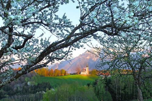 bavaria bayern berchtesgadenerland johannishögl spring lastlight mountain church sun shadows meadows flourishingtrees sky untersberg germany