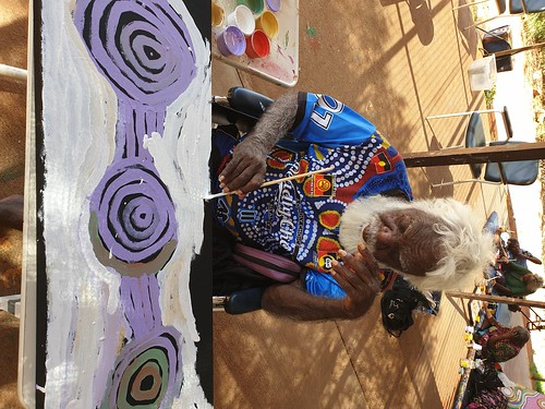 Featured artist George Tjungurrayi Ward of Warakurna Artists. Photograph by Jane Menzies.
