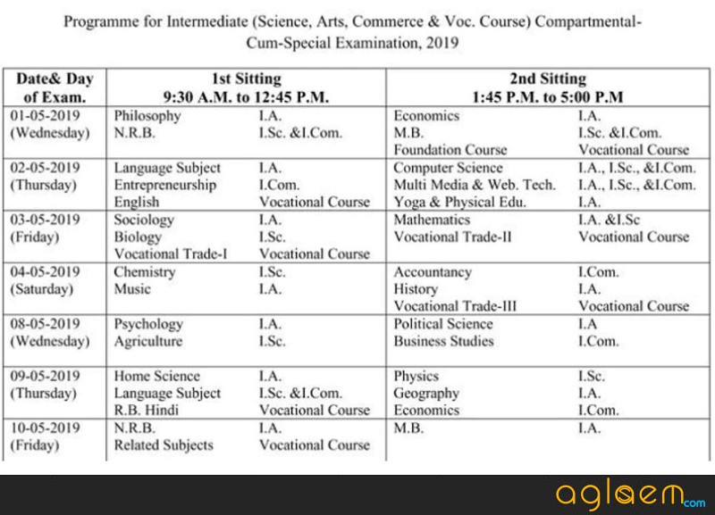 BSEB 12th Compartmental Time table 2019