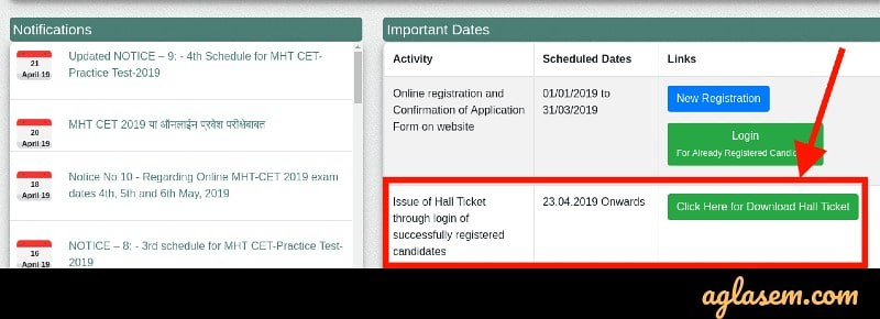 MHT CET 2019 hall ticket