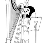 Punisher and his harp with music stand